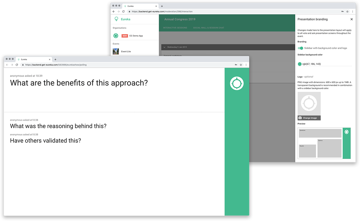 screenshot of presentation and of the presentation branding options pages
