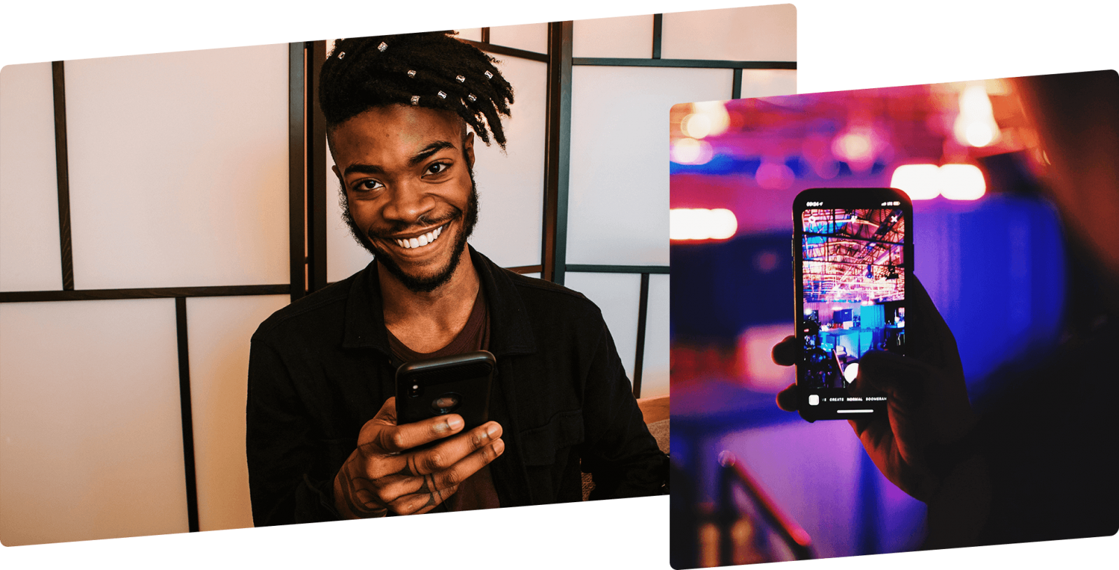 photo on left shows man holding phone and smiling at camera; photo on right shows phone in use, taking a photo inside a colourfully lit room