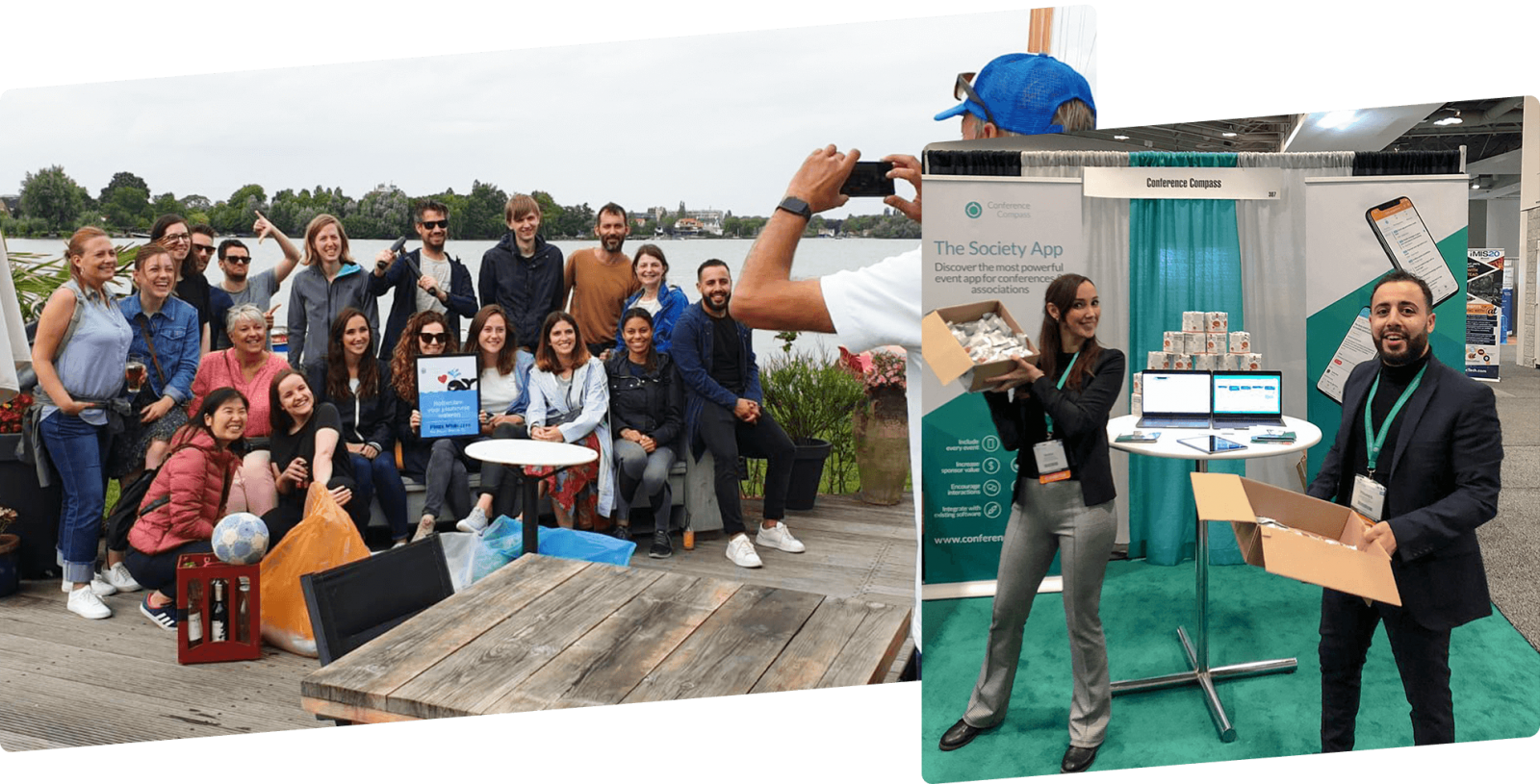 On the left, a group photo of the Conference Compass team at a lake after a day out together. On the right, two members of the team prepare their booth at a trade show, with two roll-up banners and a table with two laptops behind them, each holding a box of stroopwafels