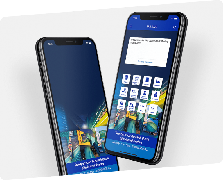 3d mockups of phones showing two screens of TRB app