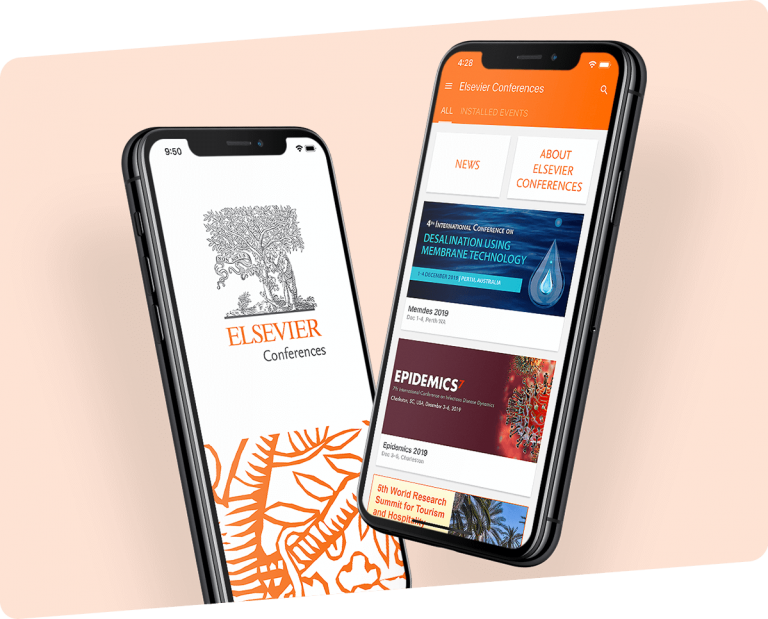 3d mockups of phones showing two screens of Elsevier Conferences app
