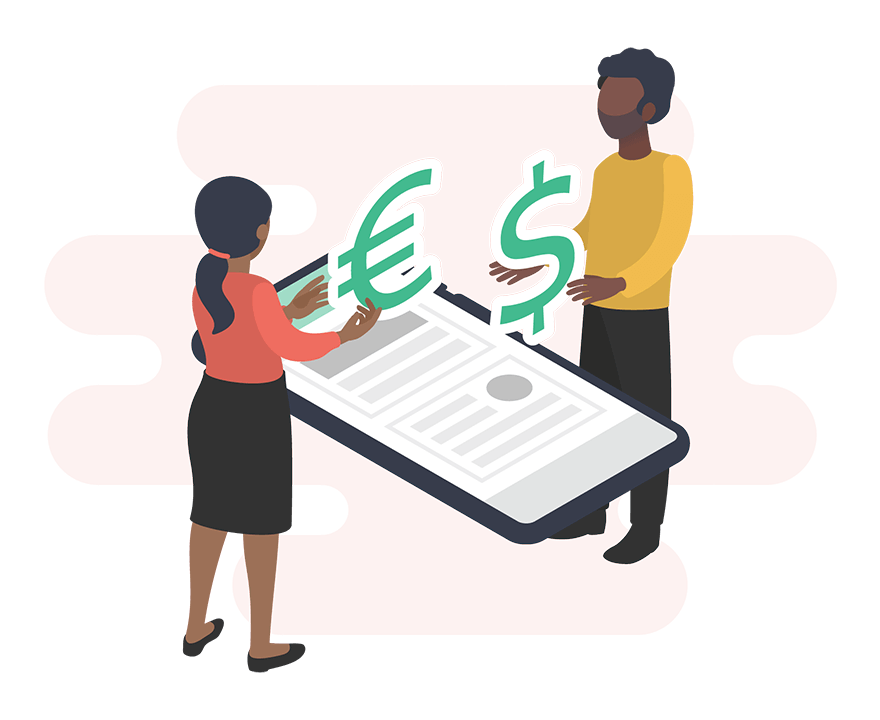 illustration of two people grabbing euro and dollar signs from a phone