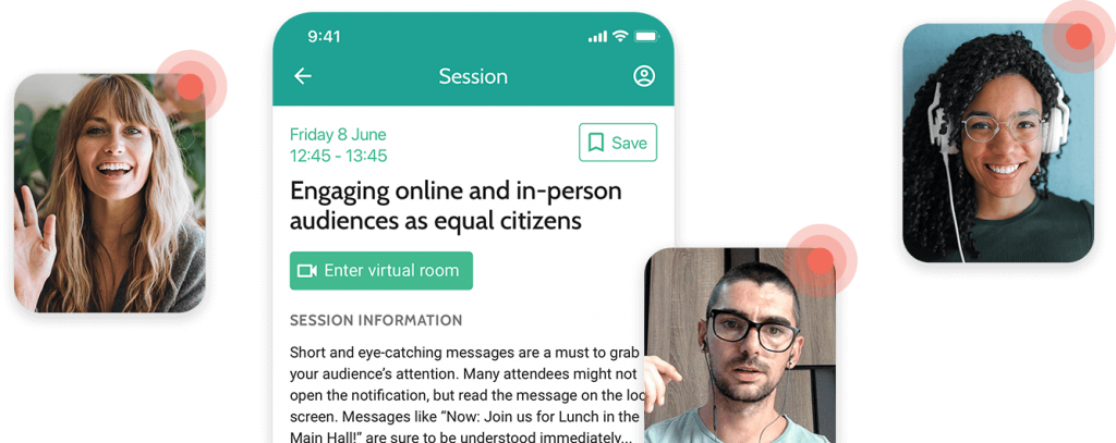 屏幕截图的会话页面与按钮到虚拟房间,带有几个人视频聊天的叠加