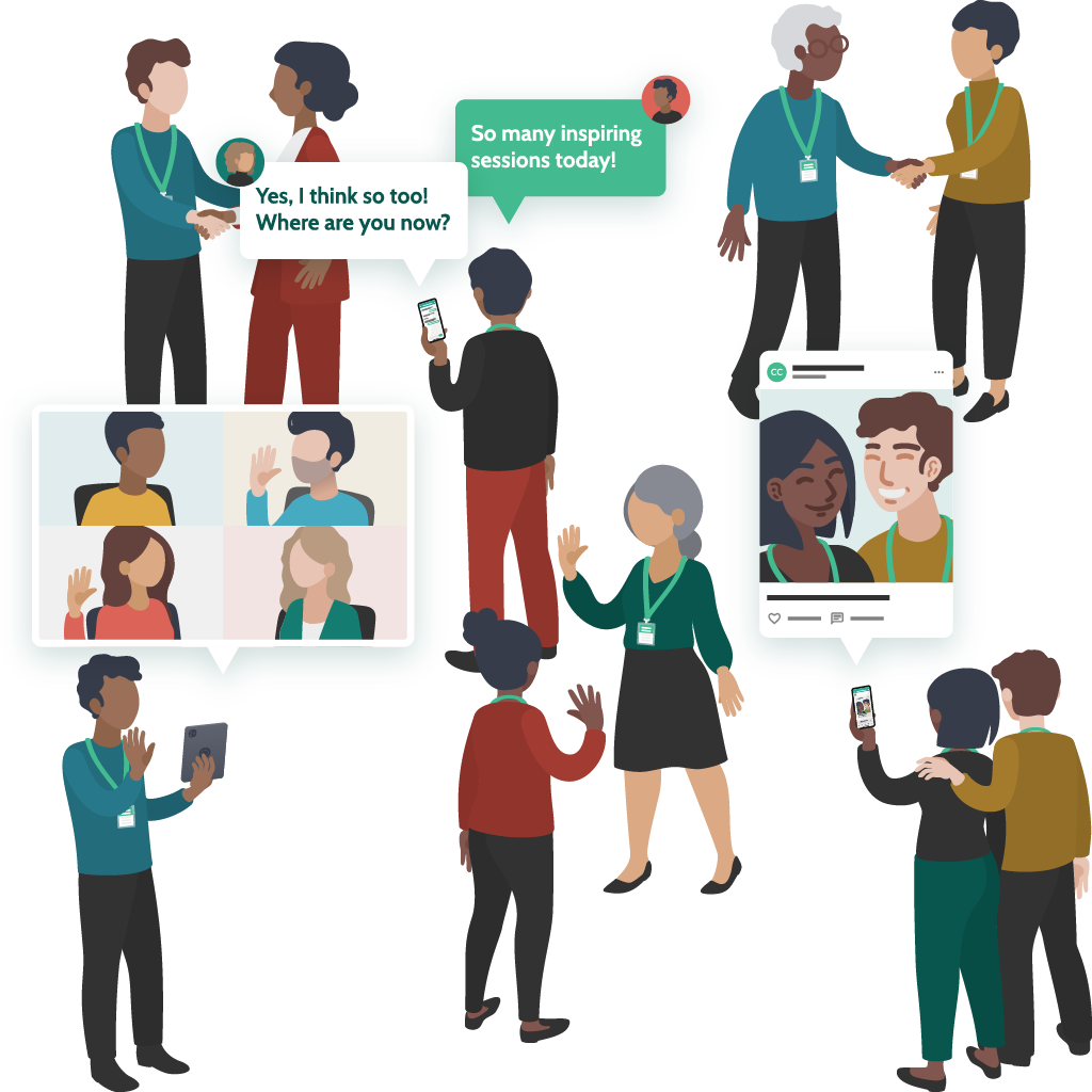 Illustration of people at a hybrid event. Some are shaking hands or waving to each other, some are taking selfies together, and others are on their phones and tablets chatting or video calling other people